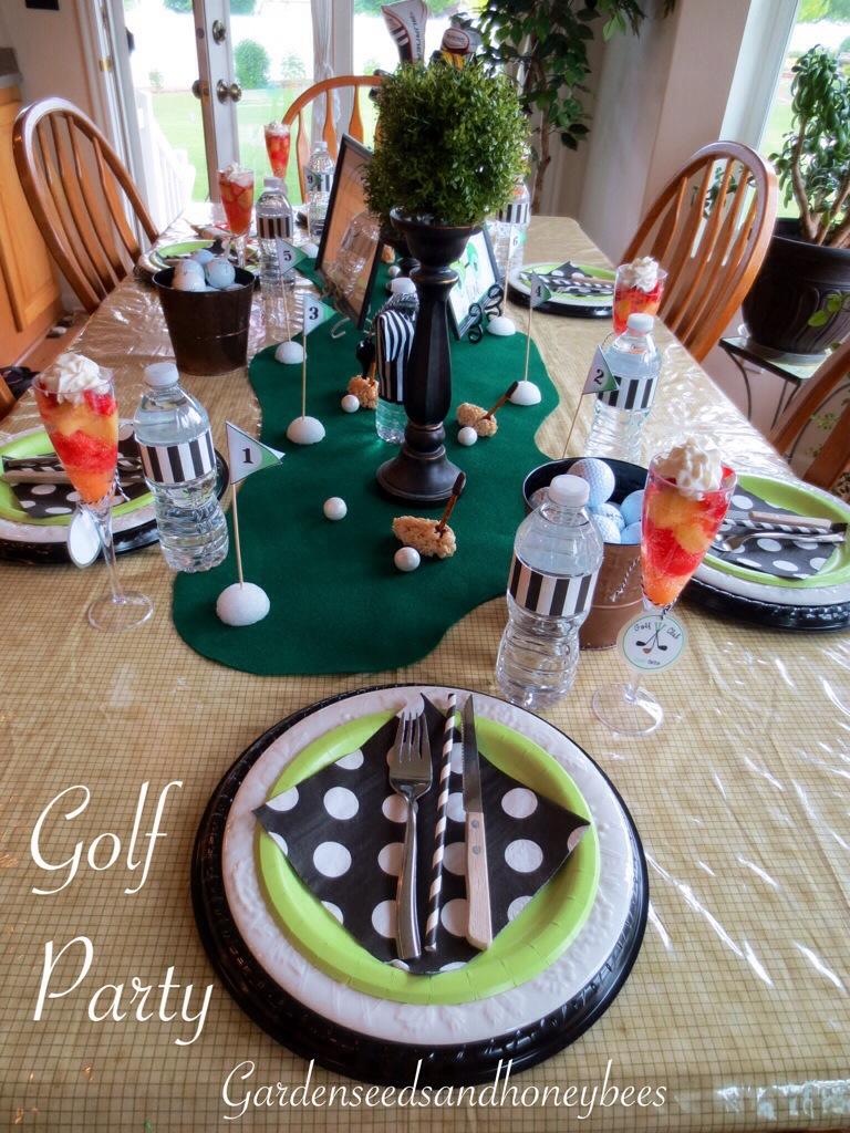 Golf Party Table Ideas - Garden Seeds and Honey Bees on fundraiser ideas, birthday ideas, events ideas, picnic ideas, grad treats, grad coloring pages, grad favors, football ideas, parties ideas, grad cards, holidays ideas, vintage ideas, grad balloons,