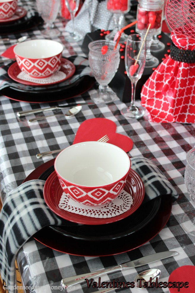 Red Black Valentines Tablescape