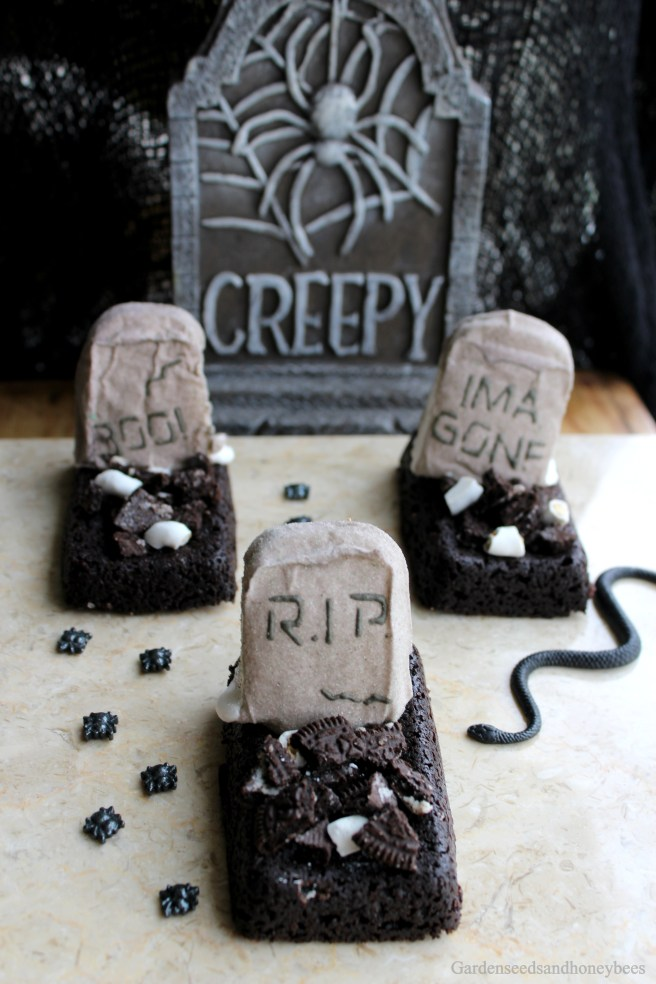 Marshmallow Tombstone Brownies