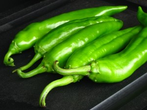 green chiles waiting to be roasted