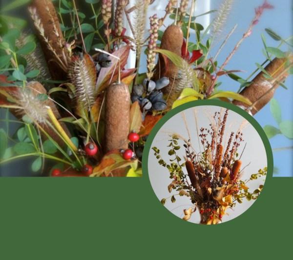 dried cattail vase