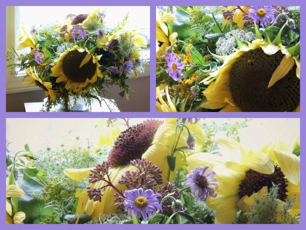 yellow sunflower vase back collage