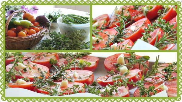 roasted tomatoes collage