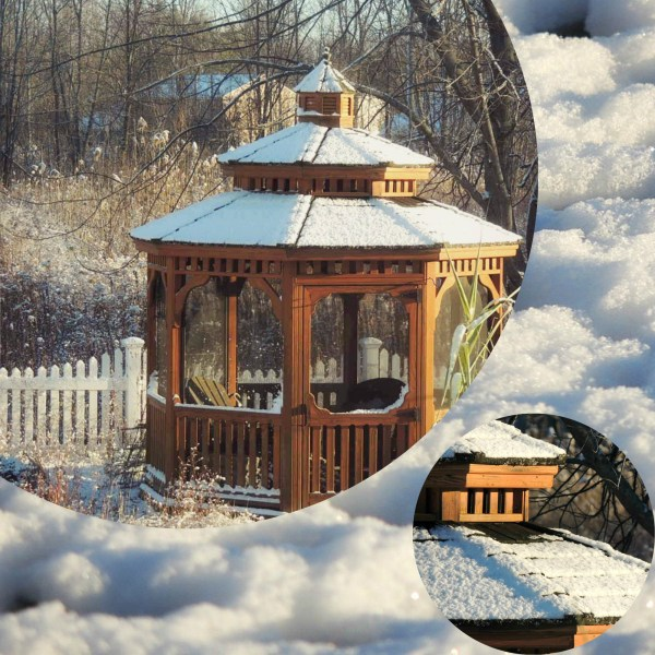 snow gazebo collage