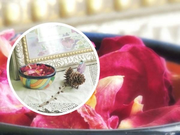 rose petal vase collage