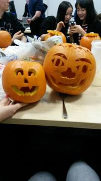 Beckie with pumpkins Jamima and Jimmy