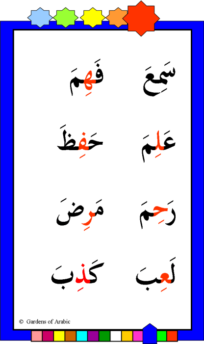 Steps to Arabic reading scheme kesra stage