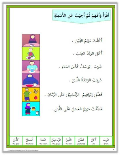 Tha Language of the Quran Level 1 unit 4 comprehension page