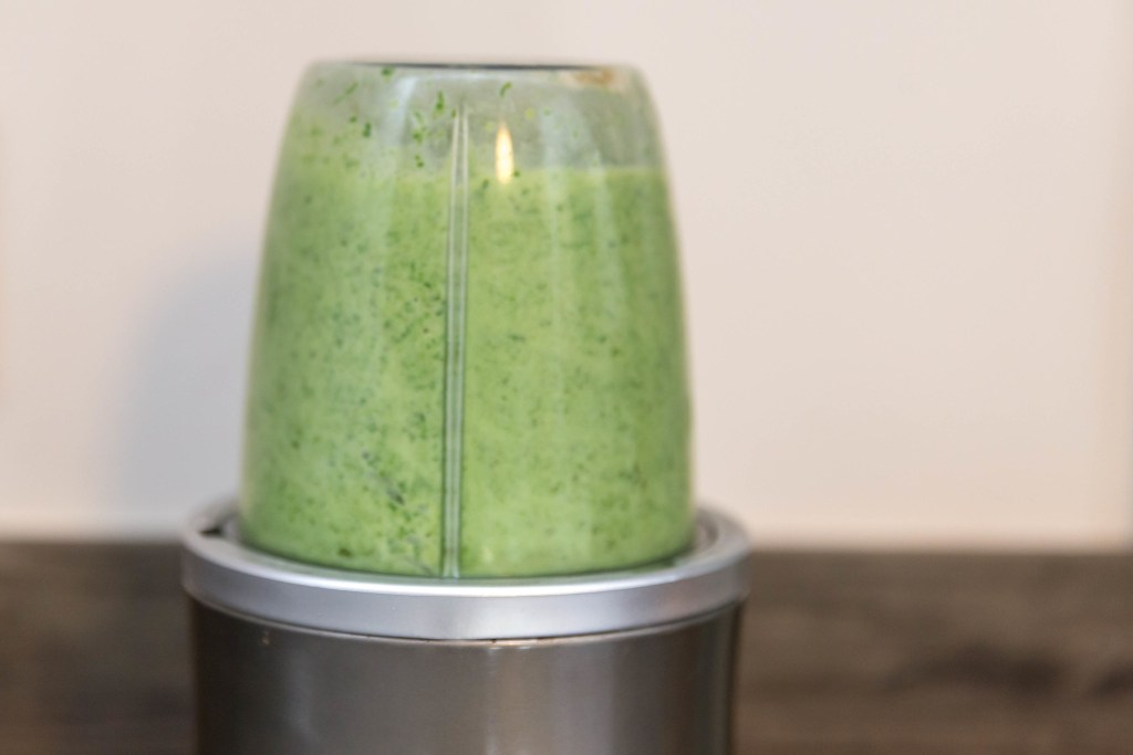 grinding green mix in a nutriblender