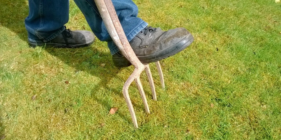 man stepping on a lawn rake