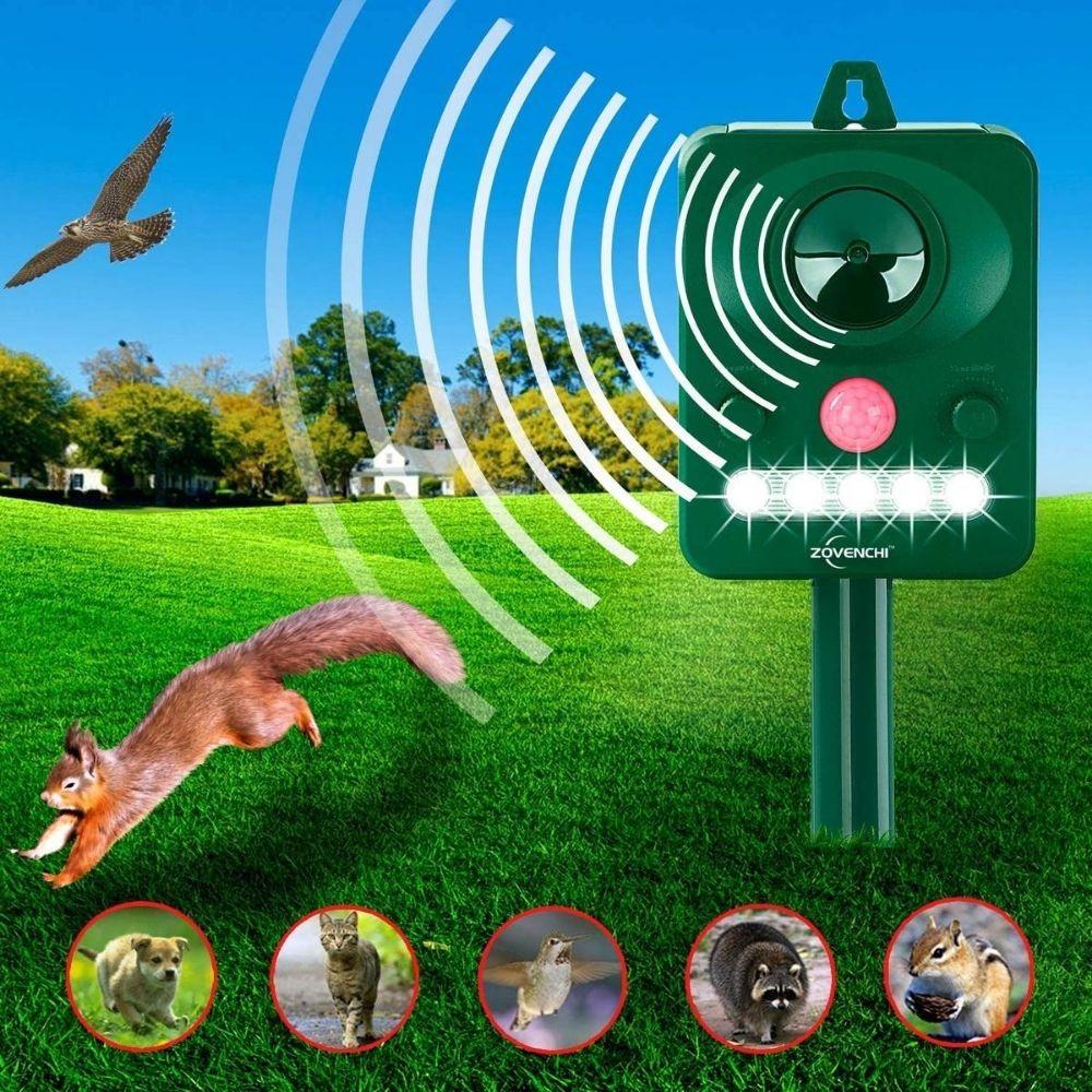 ZOVENCHI Ultrasonic Animal Repeller, Solar Powered Repeller