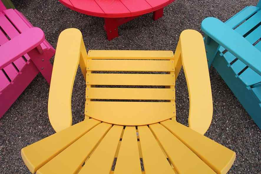 colorful plastic patio chairs