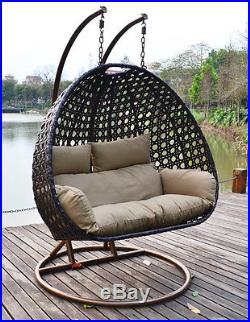 outdoor wicker hammock chair steelcraft high heavy duty hanging swing loveseat with cushion xxl 2 person