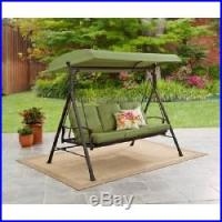 Outdoor Swing Hammock Green 3 Person Cushions Backyard ...