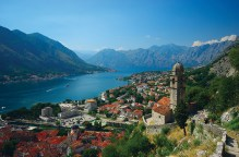 Hazy summer scenery of Kotor Bay