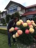 Michael enjoying the peonies