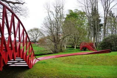 Jumping Bridge in the Garden of Cosmic Speculation design Charles Jencks. Photo John Lord