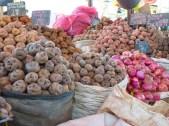 Peru market - potatoes and onions