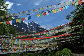 Tibetan prayer flags at Minyong Glacier