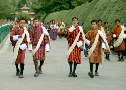 Men in Bhutan national dress