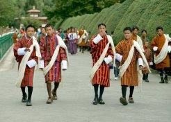 Men in Bhutan national dress