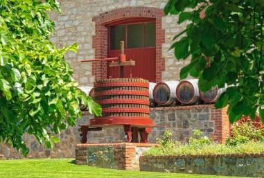Grape press and barrels in front of a cellar door of Yalumba Winery