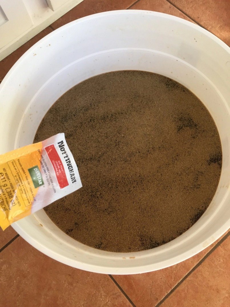 Sprinkl yeast over wort