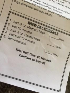 Brew Day Schedule