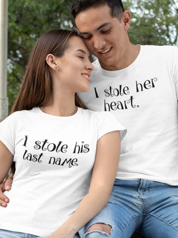 Komplet za pare i stole her heart i stole his last name, komplet majic