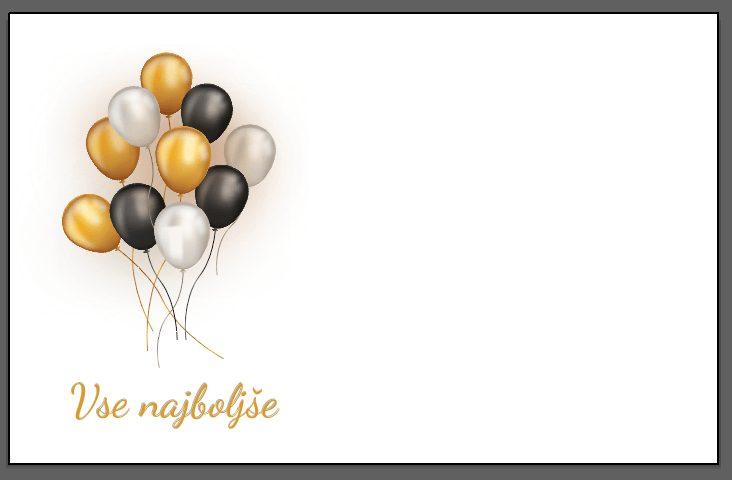 Voščilnica vse najboljše zlati in črni baloni ležeča