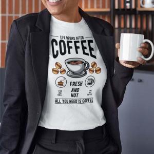 Life begins after coffee, majica