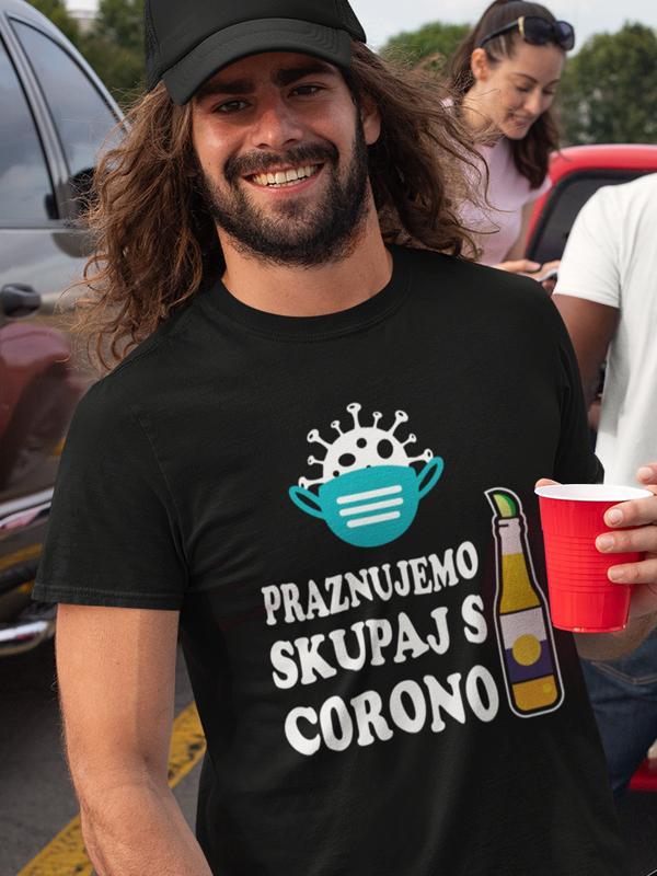 Potiskana majica praznujemo skupaj s corono rojstni dan zabava darilo pivska pivo korona virus maska smešno aktualno tiskarna trgovina garderoba ljubljana tisk na majice unikati dostava spletni nakup
