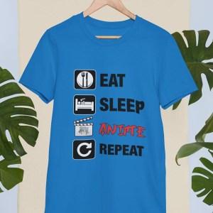 Eat sleep anime repeat moška majica