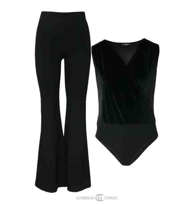 Pantaloni evazaţi + Body Catifea O ţinută sexy, potrivită chiar şi pentru noaptea dintre ani