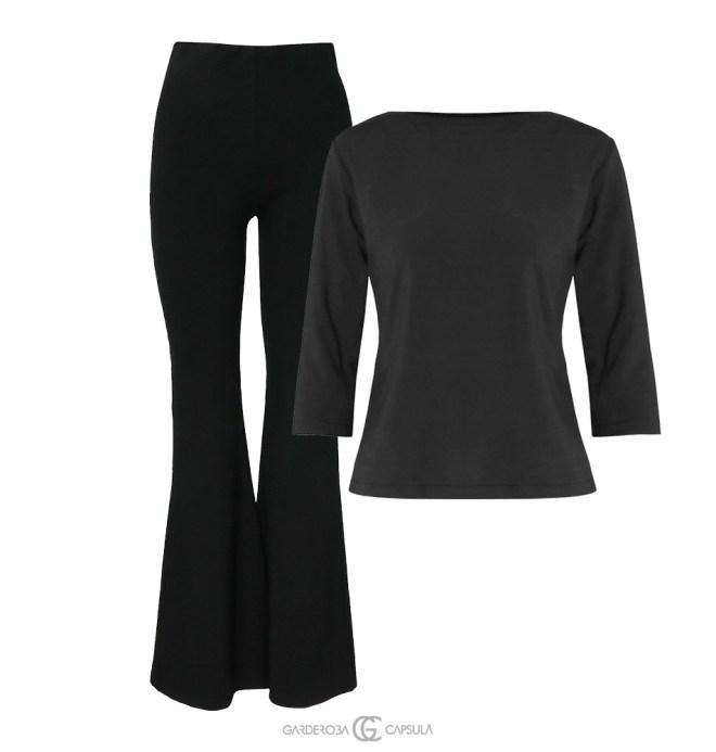Pantaloni evazaţi + Body mânecă lungă Un look confortabil, dar feminin