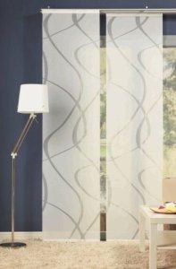 Wohnideenshop Flächenvorhang Wave weiss transparent 60cm breit x 245cm lang inkl. Zubehör und andere Muster zum auswählen
