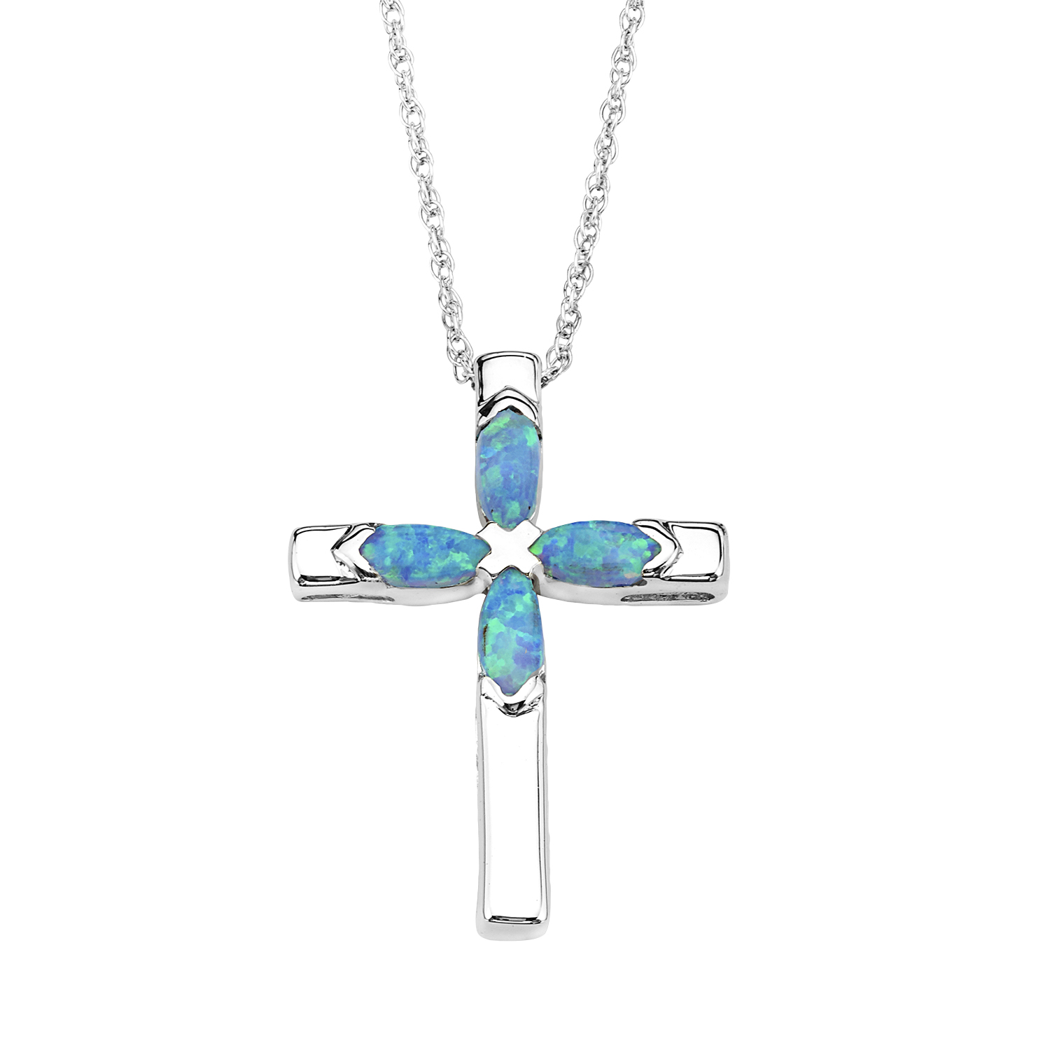 Synthetic Opal Cross Pendant