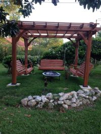 Fabulous Pergola With Swing And Fire Pit | Garden Landscape