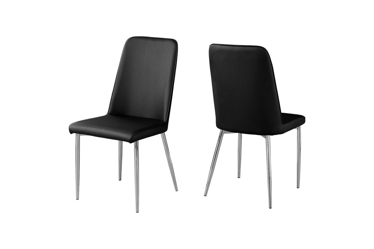 Black Leather Dining Chairs Black Faux Leather Dining Chair Set Of 2 By Monarch