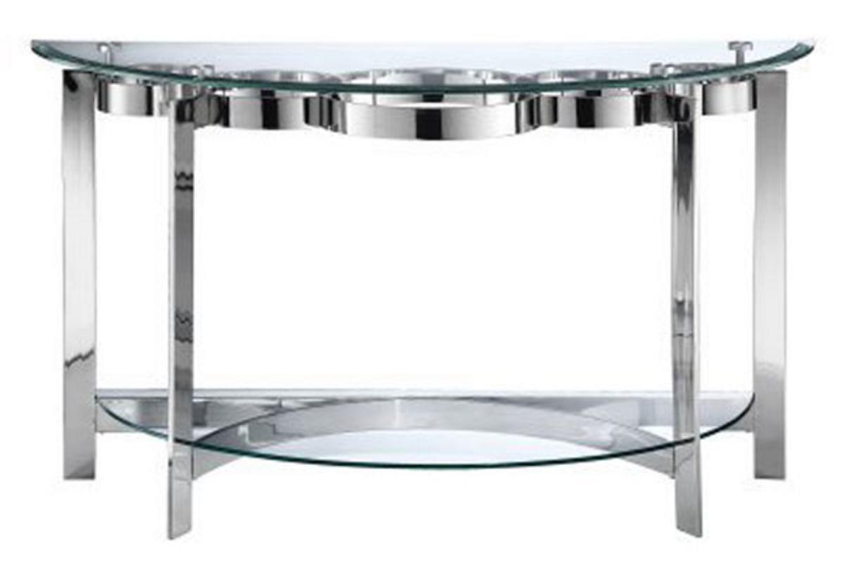Curvy Chrome & Glass Sofa Table At Gardnerwhite