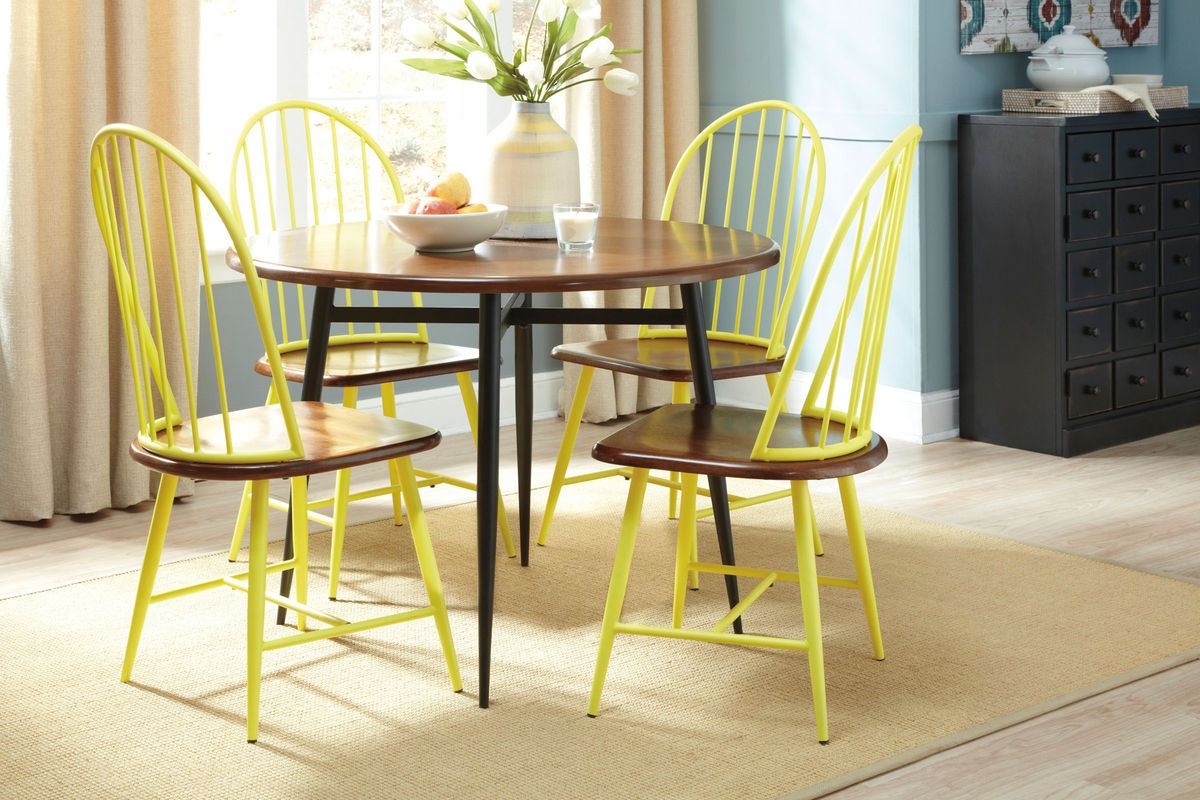 Yellow Side Chair Shanilee Round Dining Table With Four Yellow Side Chairs