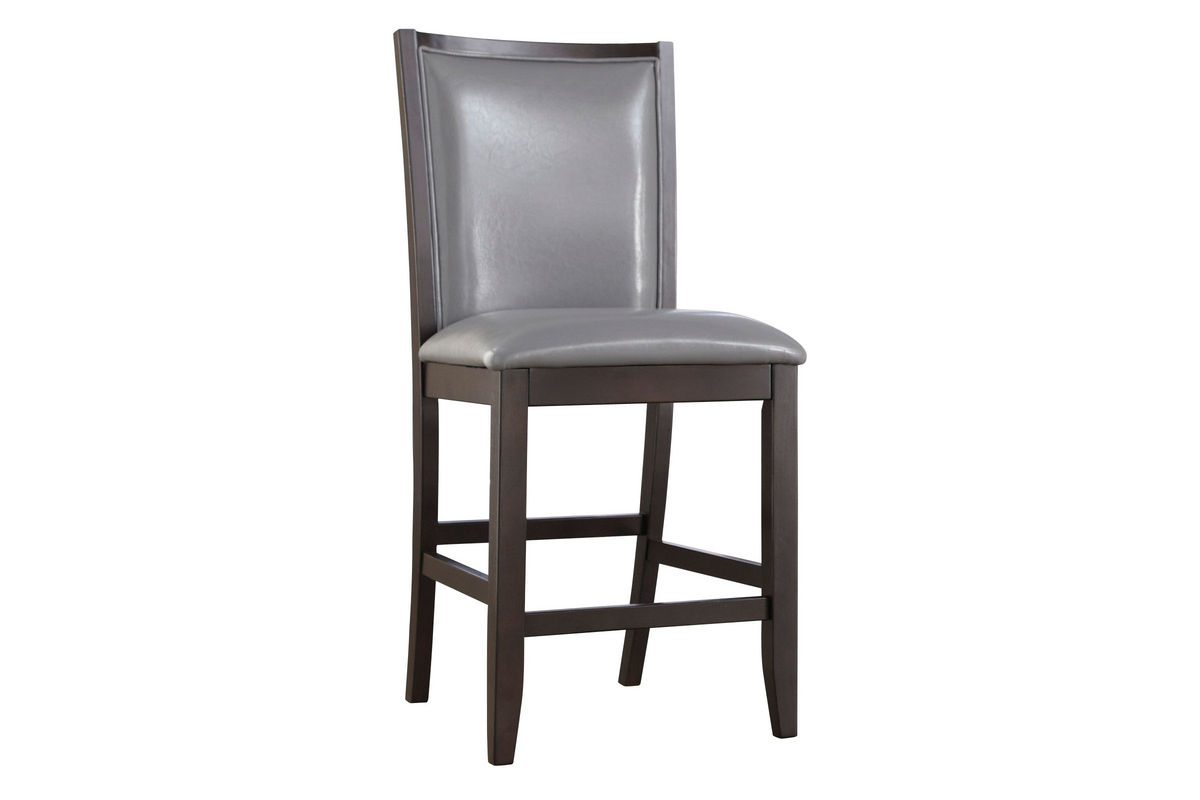 Upholstered Bar Chairs Trish Glass Gathering Table And 4 Gray Upholstered Bar Stools