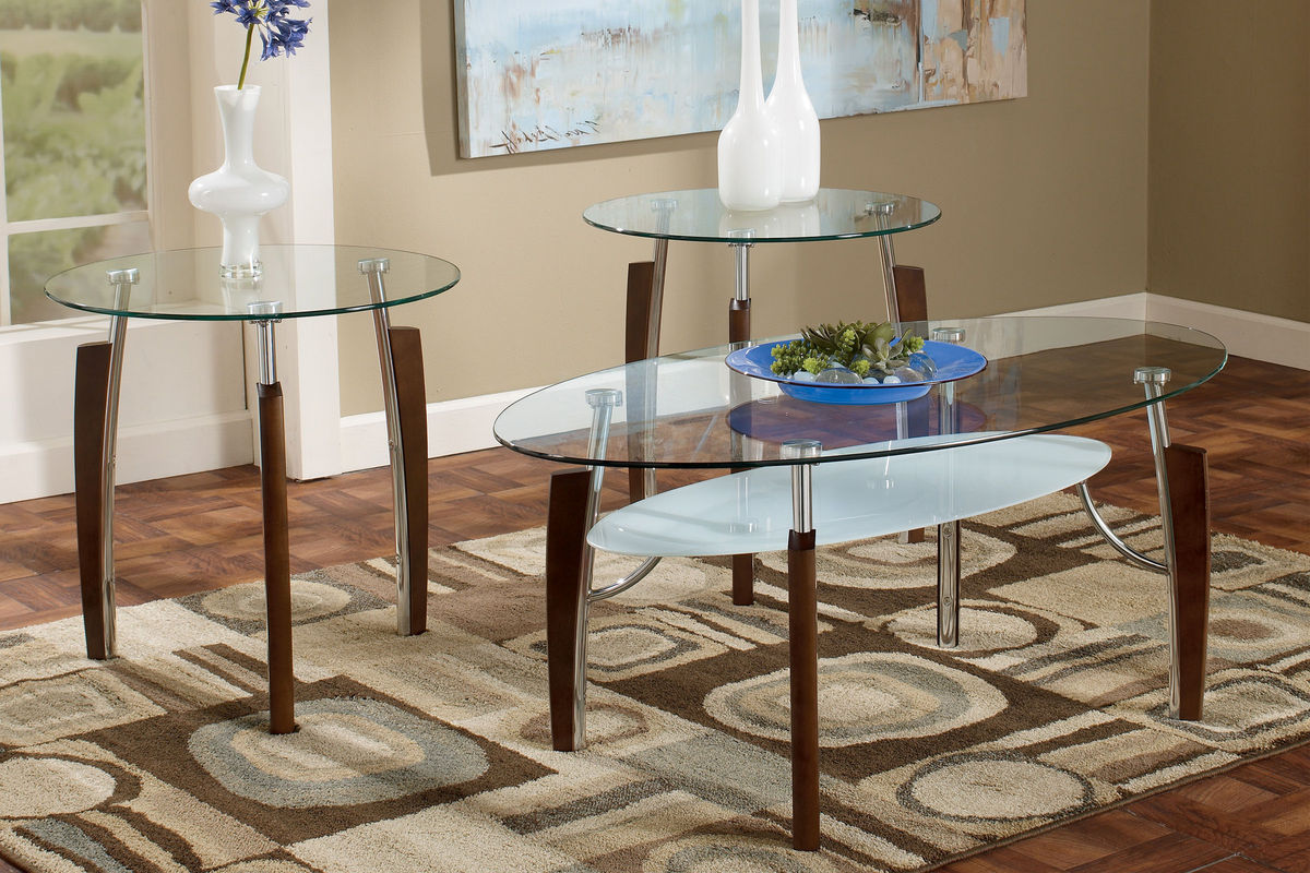 Modern Wood & Glass Cocktail Table & 2 End Tables At