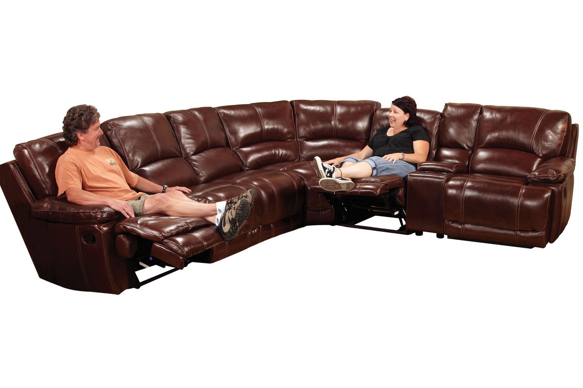 Kimberly 7Piece Leather Reclining Sectional at GardnerWhite