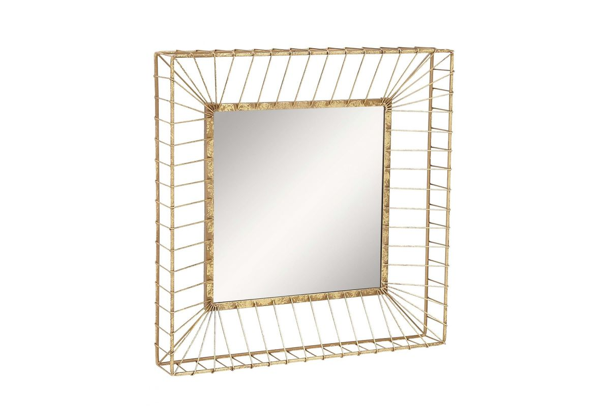 Modern Reflections Square Metal Wall Mirror In Gold By UMA