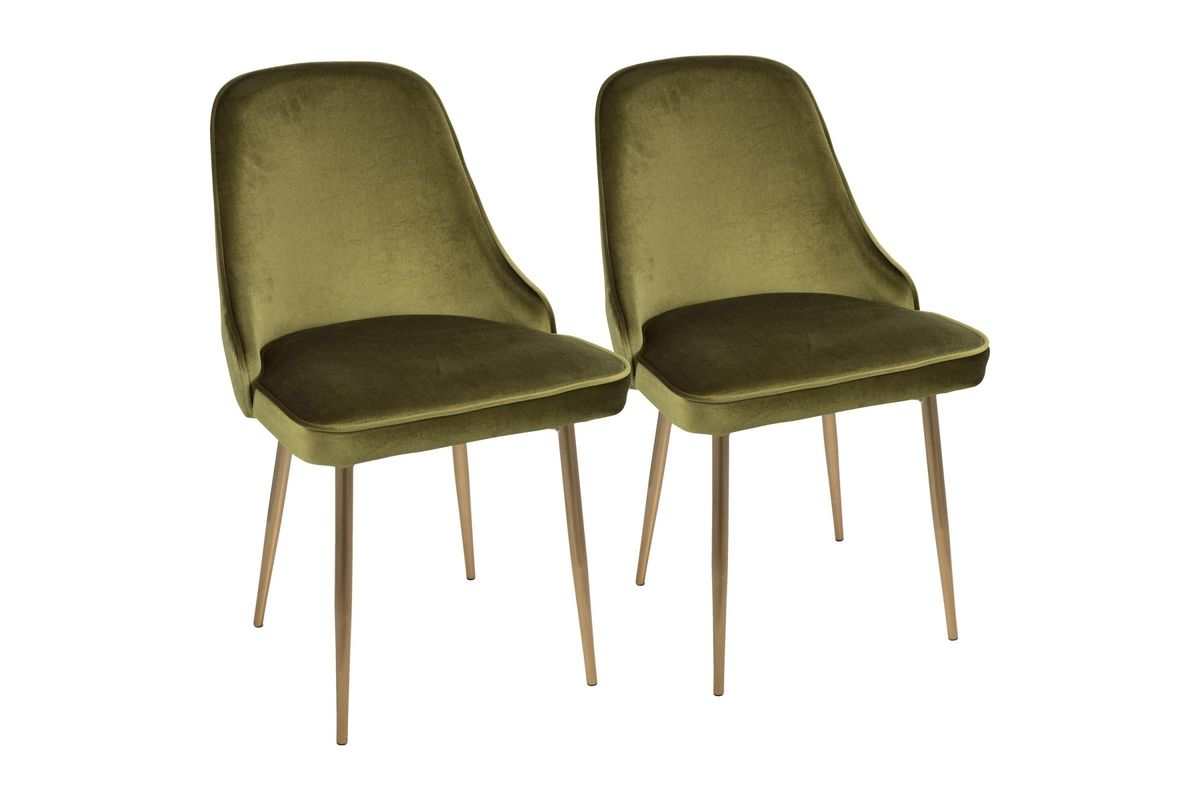 Green Velvet Dining Chairs Marcel Contemporary Dining Chairs Set Of 2 In Green