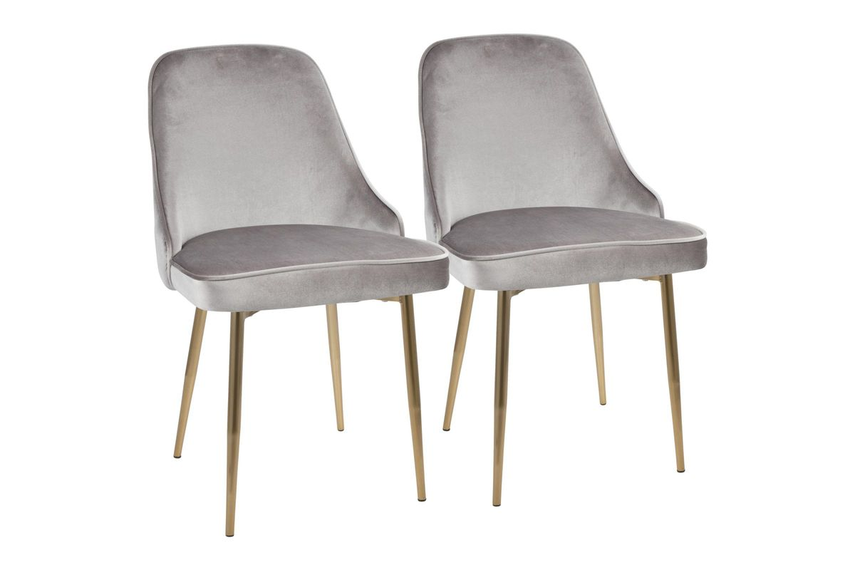 Dining Chair Set Of 2 Marcel Contemporary Dining Chairs Set Of 2 In Grey Velvet And Gold By Lumisource