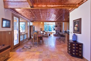Entry looking toward great room showing copper ceilings