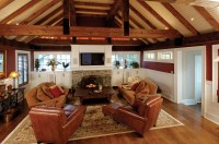 Family Room Addition with Rustic Beams and Vaulted Ceiling ...