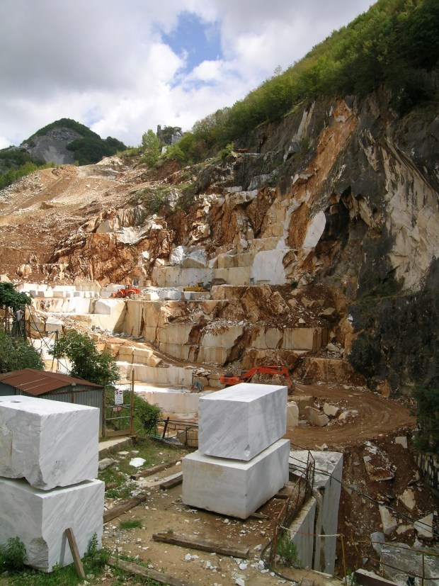 Marble quarry in the Apuan Alps, over the town of Carrara (Tuscany, Italy).